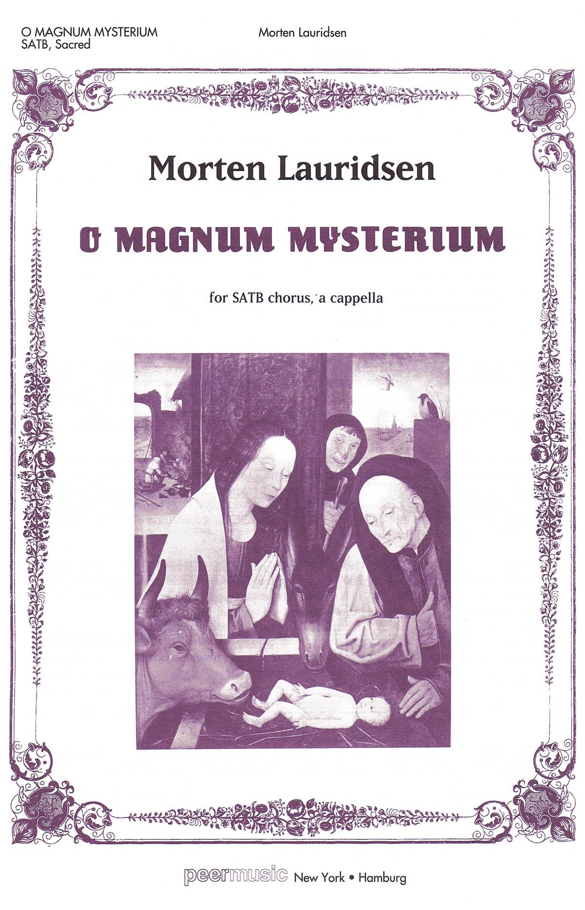 Morten Lauridsen: O Magnum Mysterium: SATB: Vocal Score