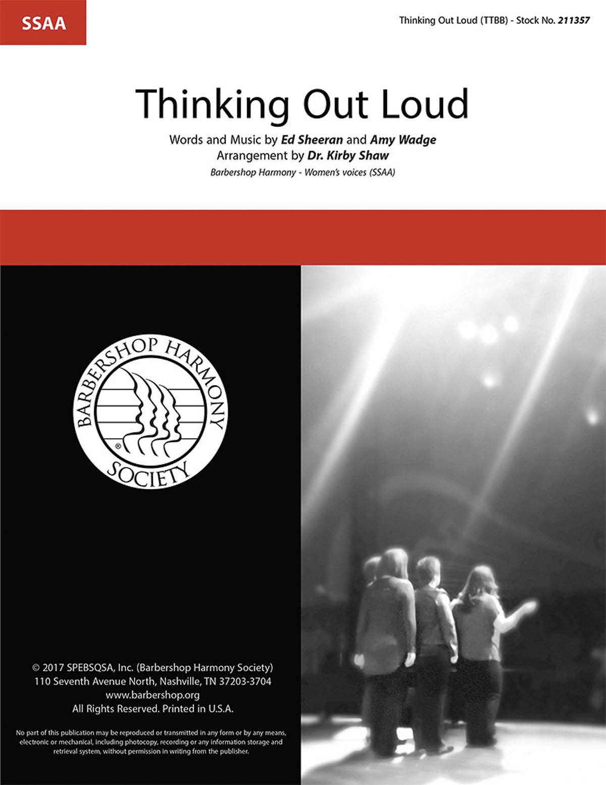 Ed Sheeran: Thinking Out Loud: Upper Voices a Cappella: Vocal Score