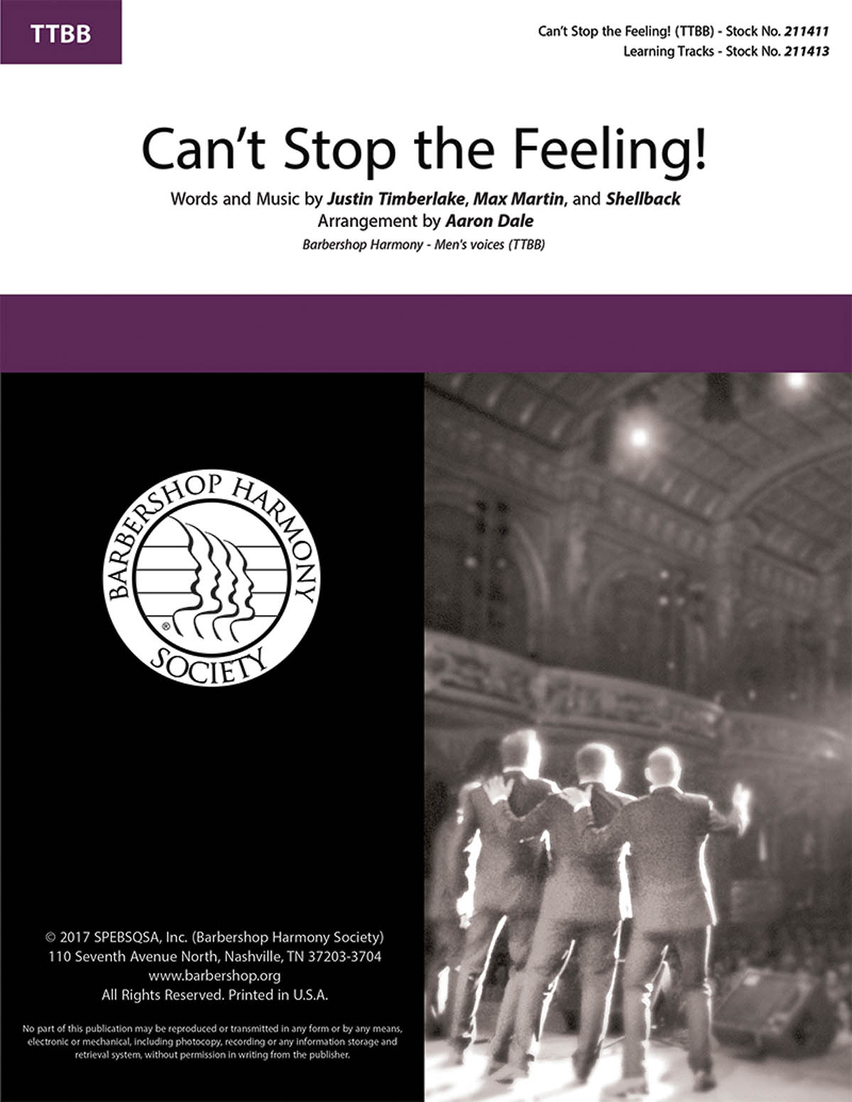 Justin Timberlake Max Martin  Shellback: Can't Stop the Feeling!: Lower Voices a