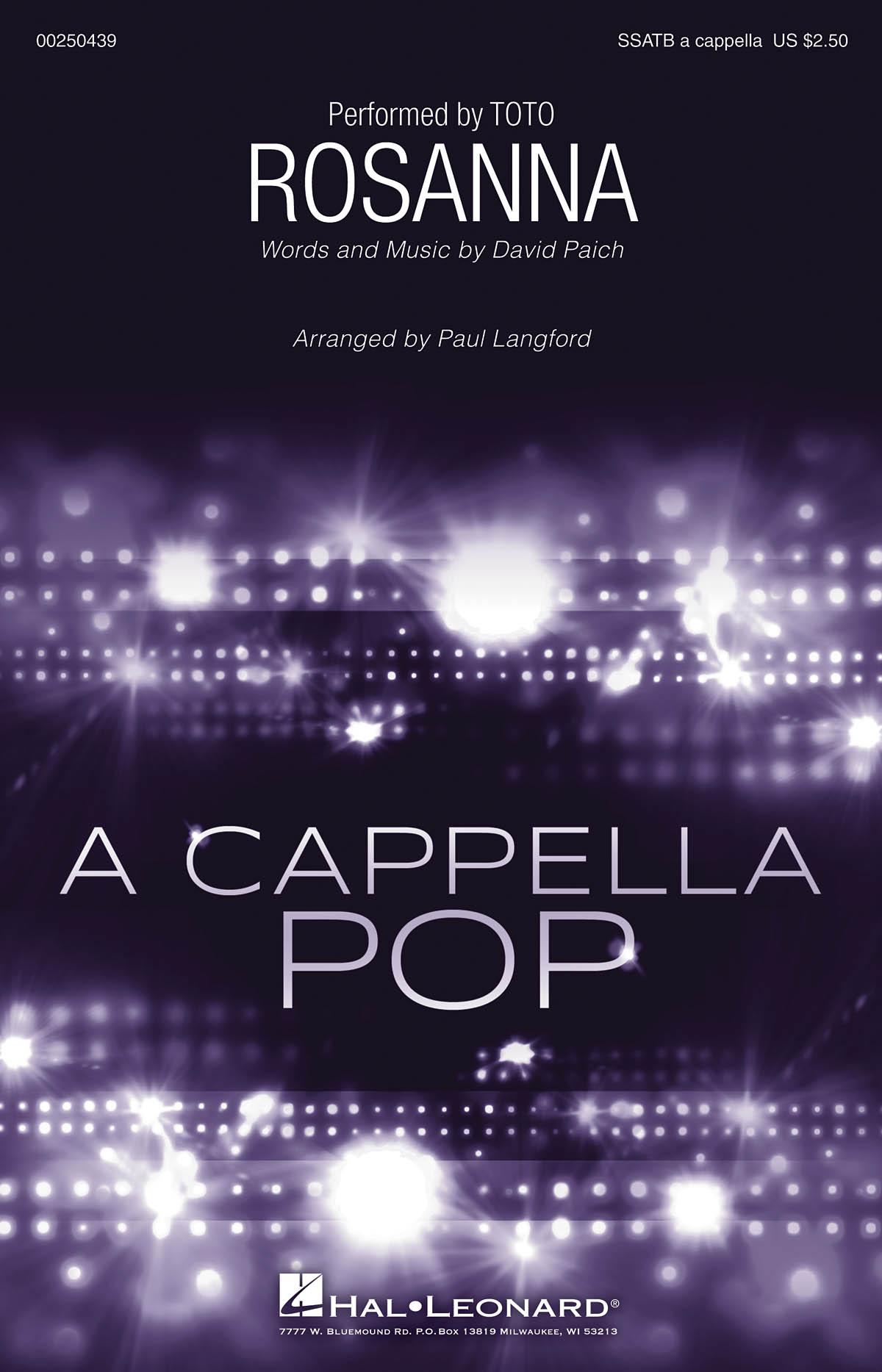 David Paich: Rosanna: Mixed Choir a Cappella: Vocal Score