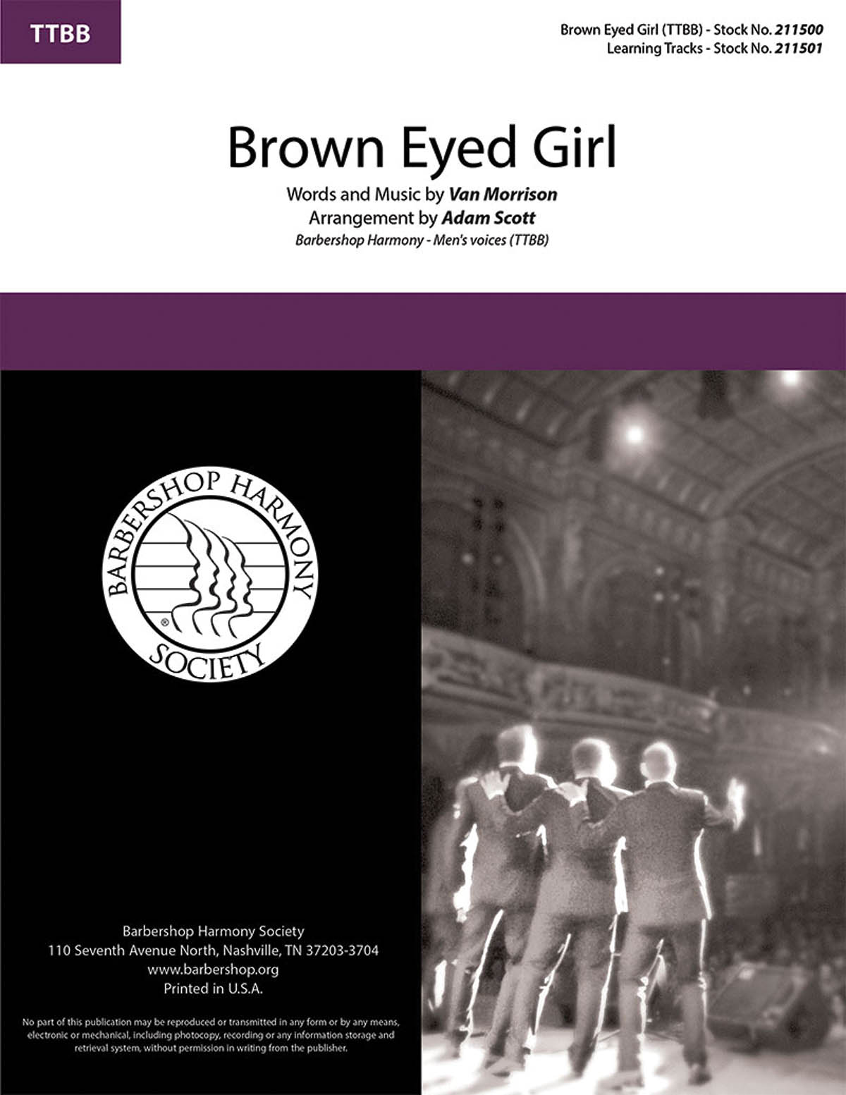 Van Morrison: Brown Eyed Girl: Lower Voices a Cappella: Vocal Score