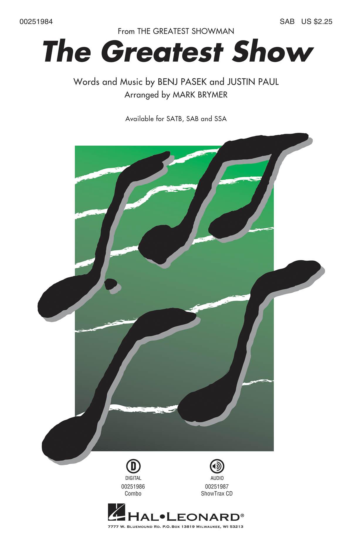 The Greatest Show The Greatest Showman–SAB (arr. Brymer). For SAB  Piano Accompaniment