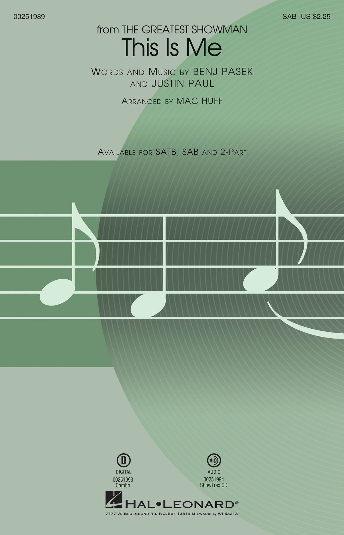 This Is Me 'The Greatest Showman' - SAB (arr. Huff). Sheet Music  Downloads for SAB  Piano Accompaniment