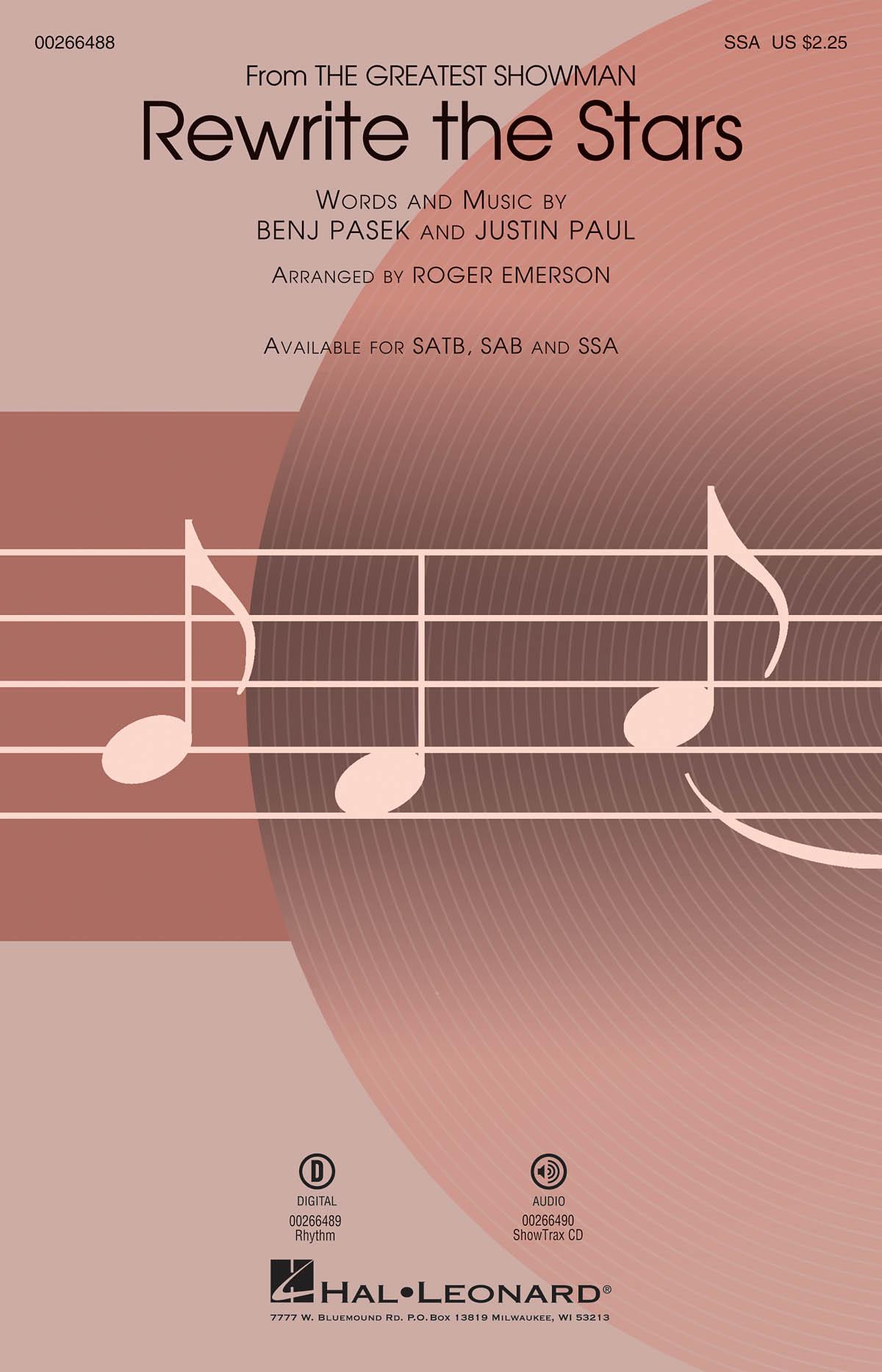Rewrite the Stars 'The Greatest Showman' - SSA (arr. Emerson). Sheet Music  Downloads for SSA  Piano Accompaniment