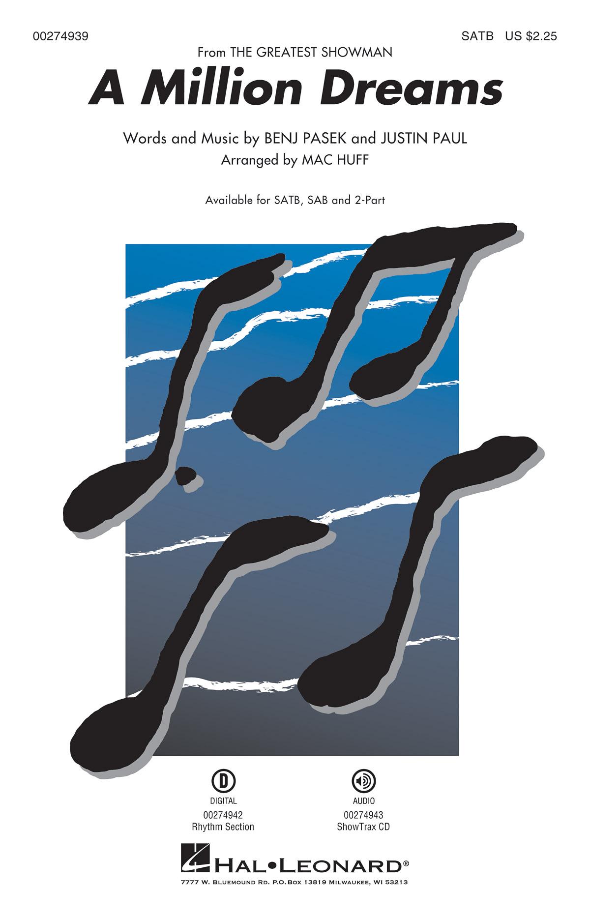 Benj Pasek Justin Paul: A Million Dreams: Mixed Choir a Cappella: Vocal Score