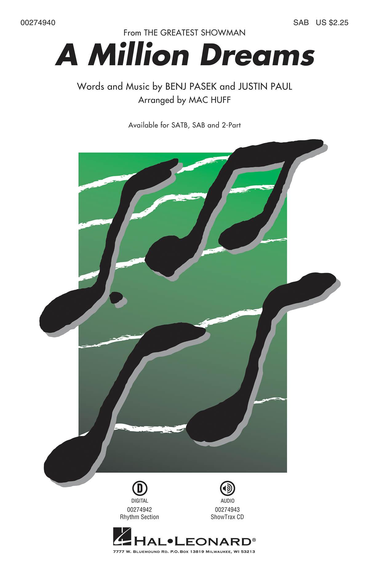 A Million Dreams 'The Greatest Showman' - SAB (arr. Huff). Sheet Music  Downloads for SAB  Piano Accompaniment