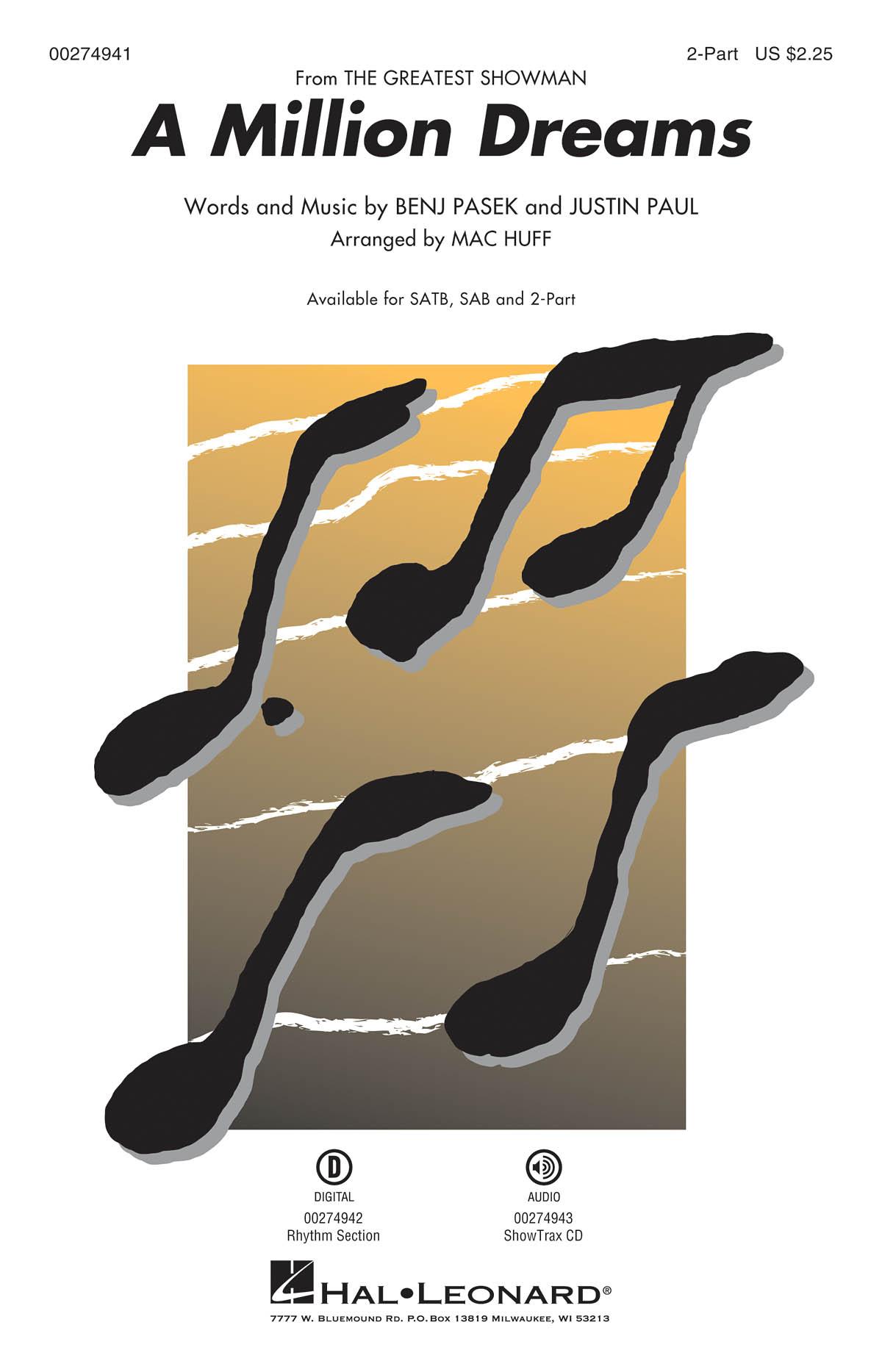A Million Dreams 'The Greatest Showman' - 2-Part Choir (arr. Huff). Sheet Music  Downloads for 2-Part Choir  Piano Accompaniment