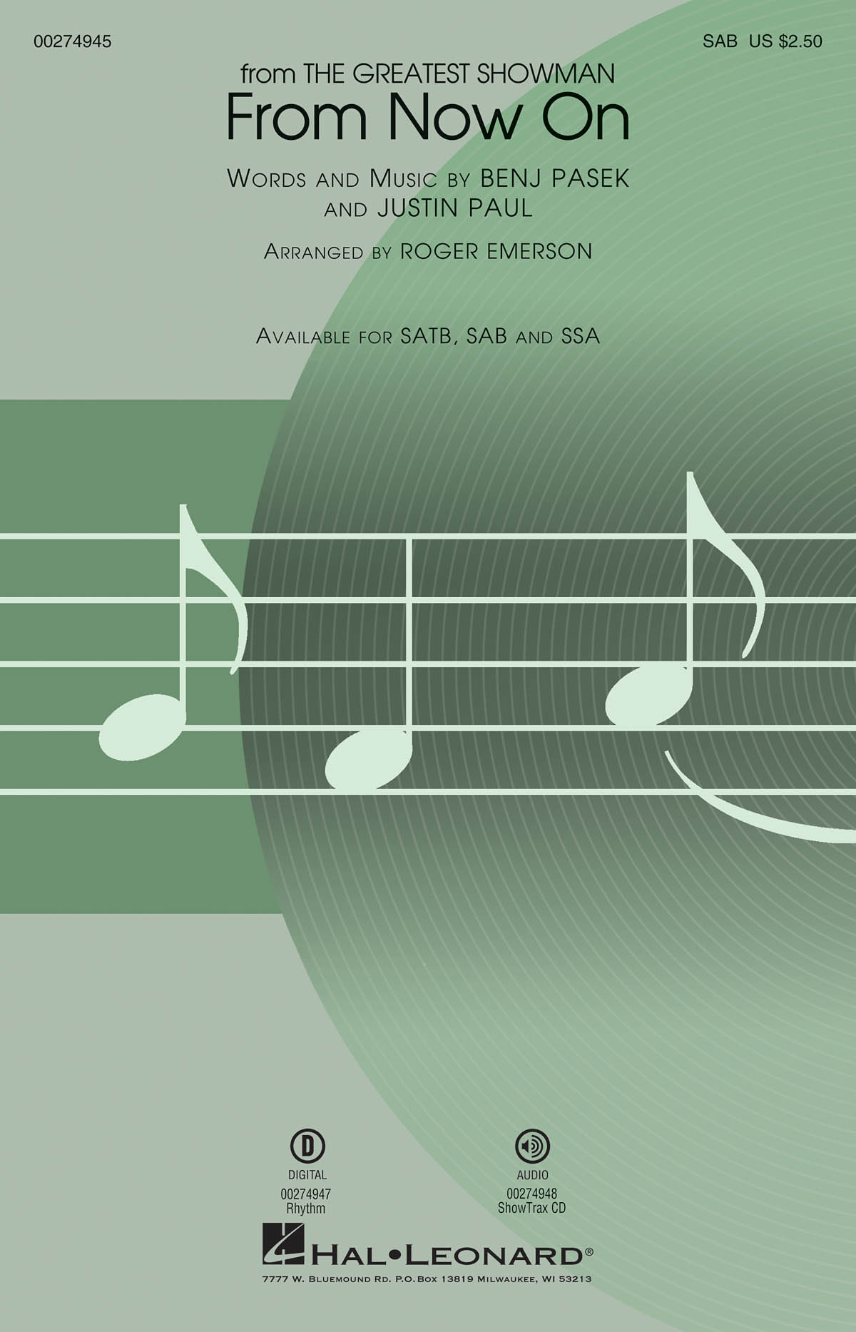 From Now On 'The Greatest Showman' - SAB (arr. Emerson). Sheet Music  Downloads for SAB  Piano Accompaniment