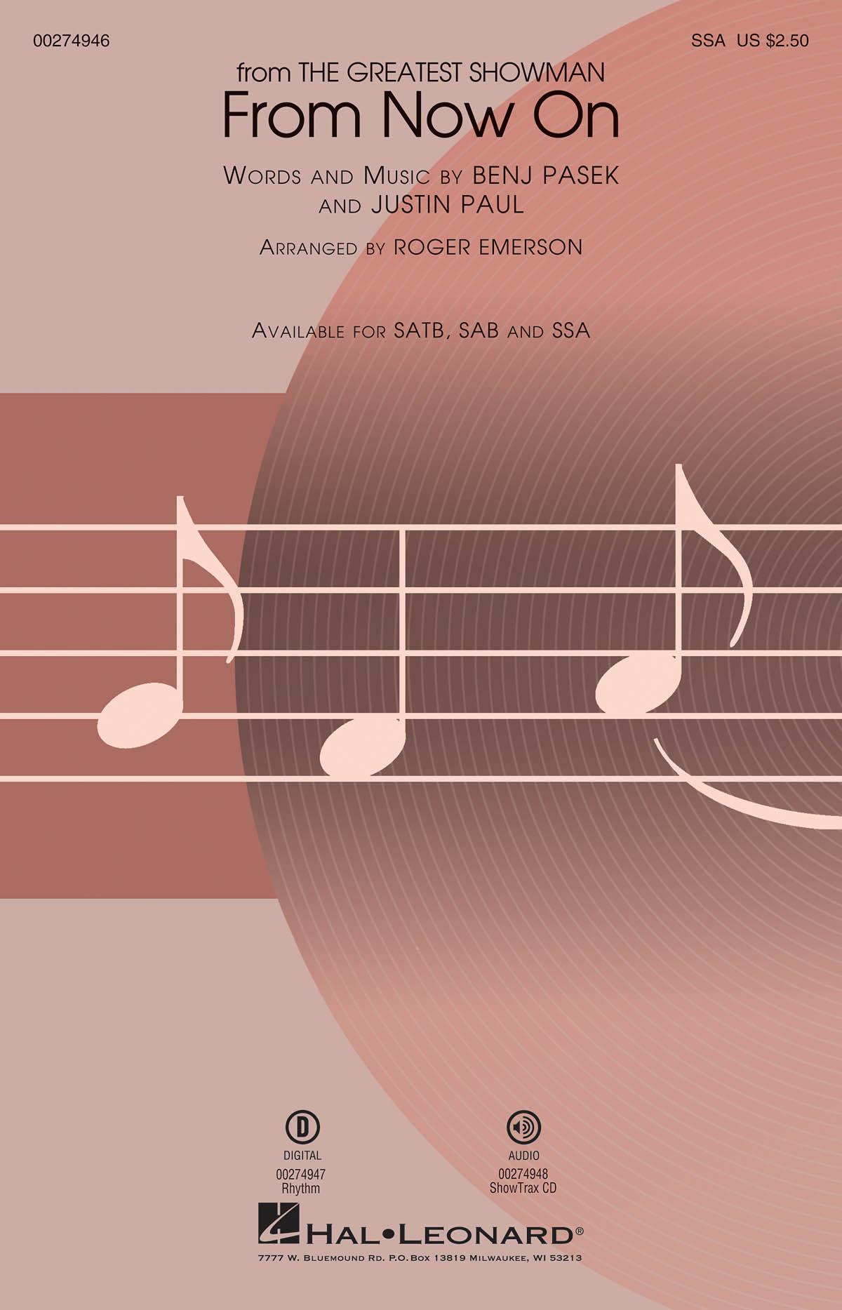 From Now On 'The Greatest Showman' - SSA (arr. Emerson). Sheet Music  Downloads for SSA  Piano Accompaniment