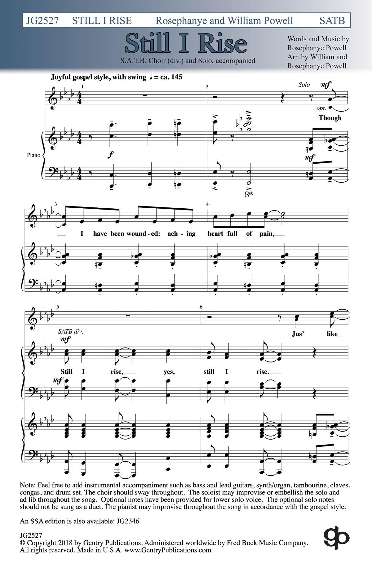 Rosephanye Powell: Still I Rise: Mixed Choir a Cappella: Vocal Score