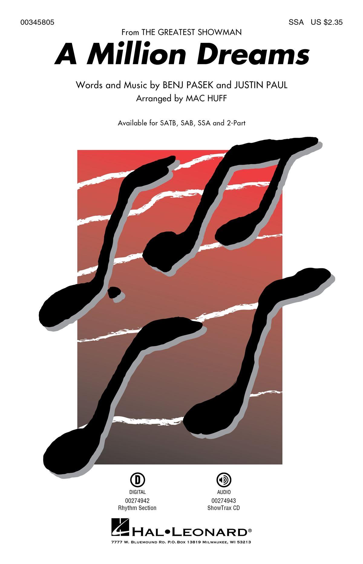 Benj Pasek Justin Paul: A Million Dreams: Upper Voices a Cappella: Vocal Score