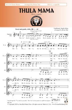 Thula Mama: Upper Voices a Cappella: Vocal Score