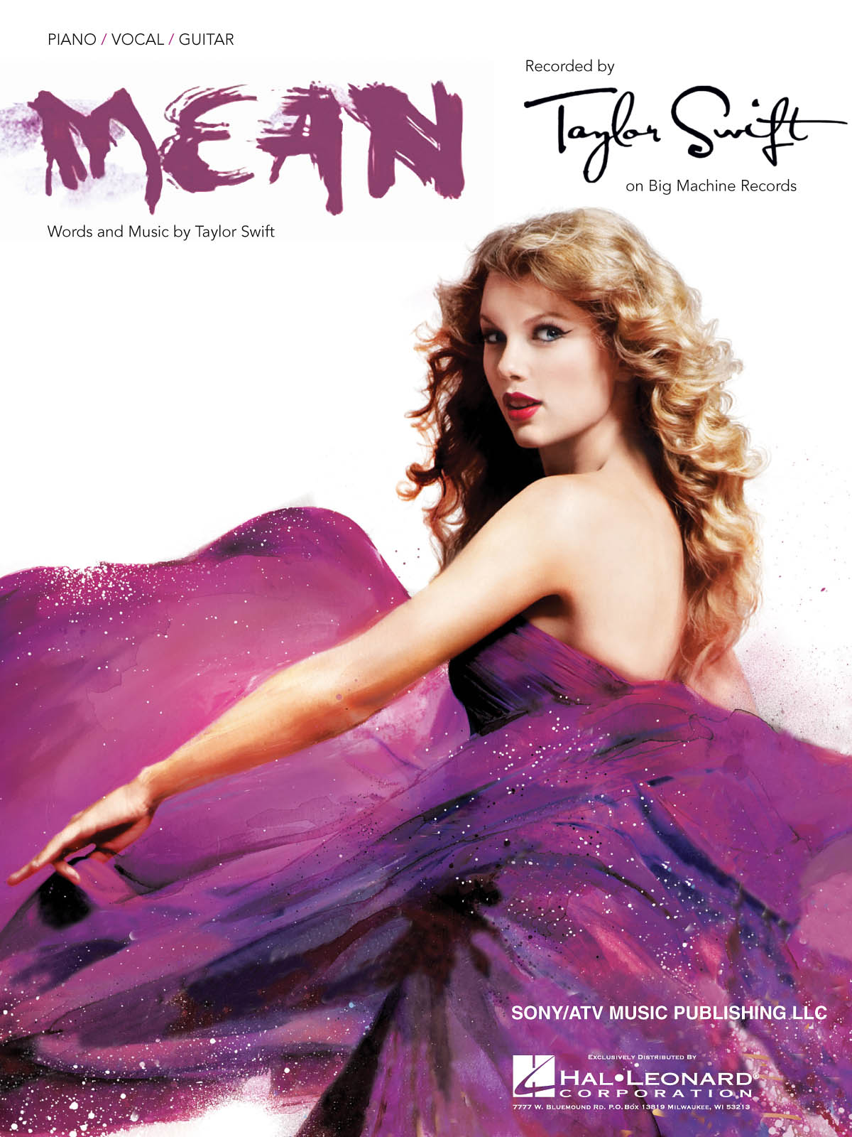 Taylor Swift: Mean: Piano  Vocal and Guitar: Single Sheet