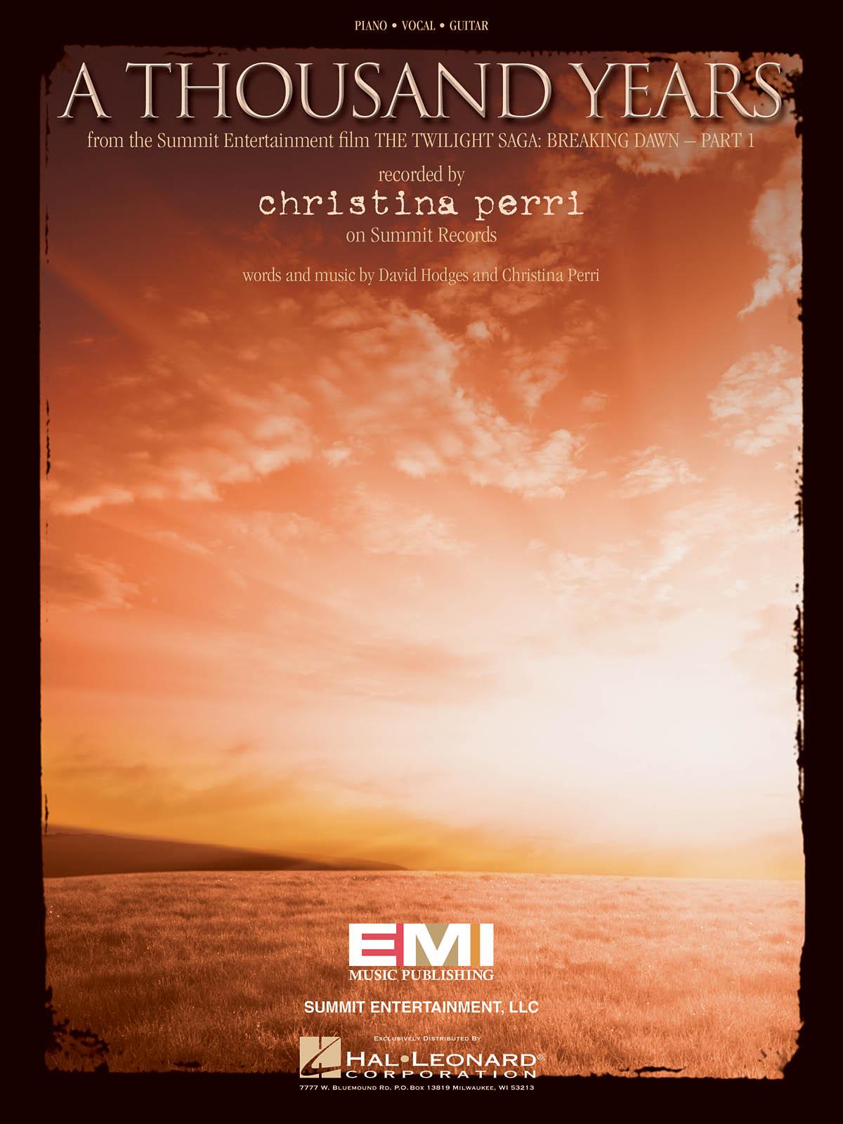 Christina Perri: A Thousand Years: Piano  Vocal and Guitar: Single Sheet