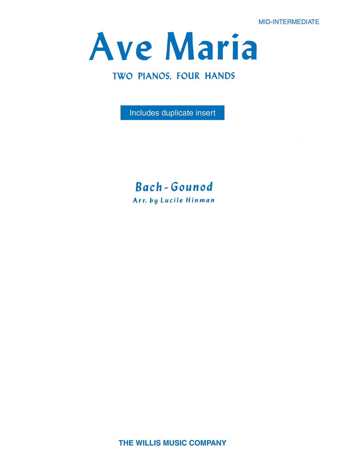 Johann Sebastian Bach: Ave Maria: Piano Duet: Instrumental Work