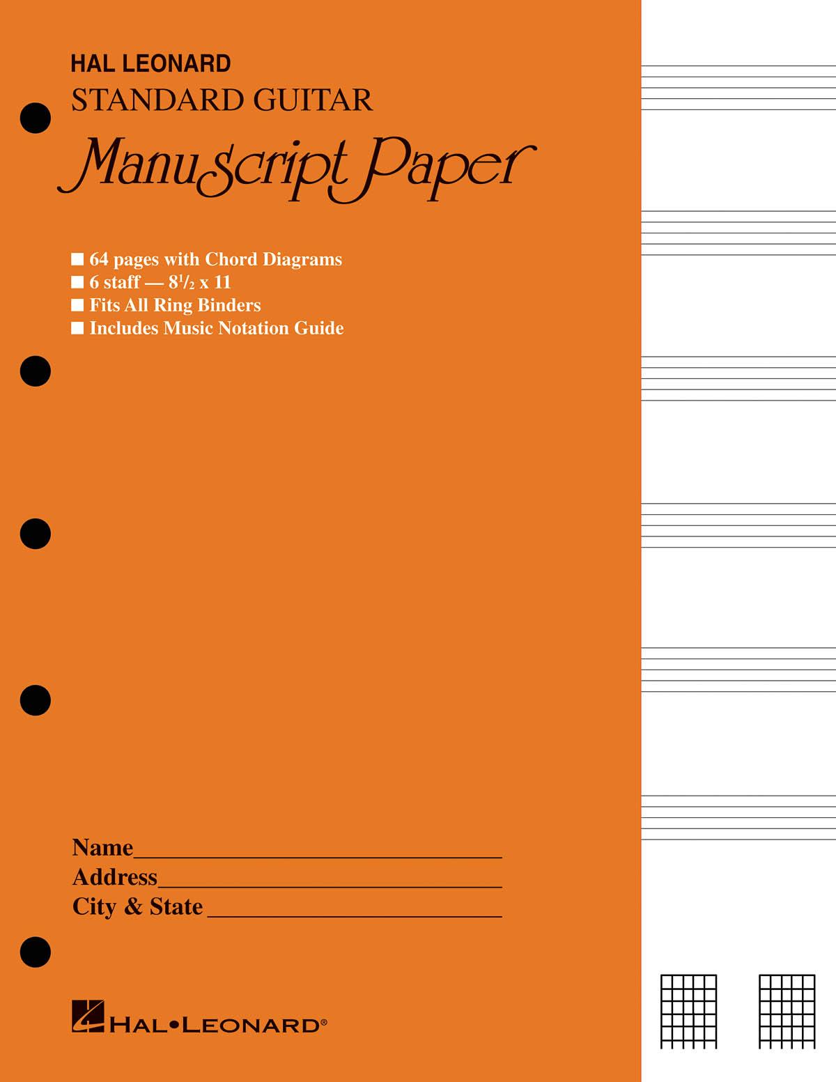 Guitar Manuscript Paper - Standard (Gold Cover): Manuscript Paper: Manuscript