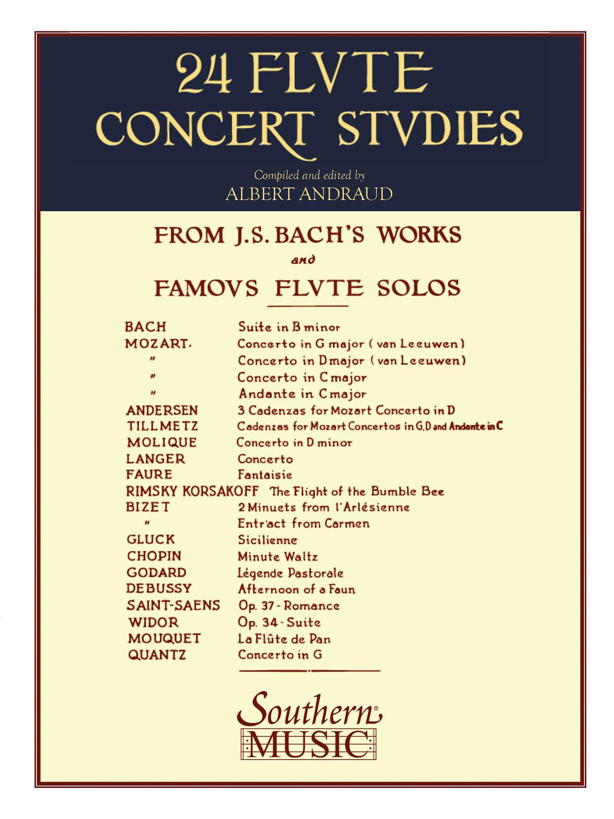 Johann Sebastian Bach: 24 Flute Concert Studies: Flute Solo: Instrumental