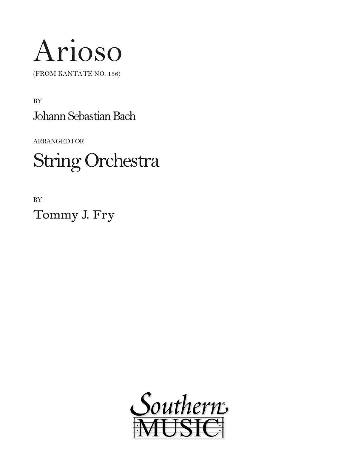 Johann Sebastian Bach: Arioso: String Orchestra: Score