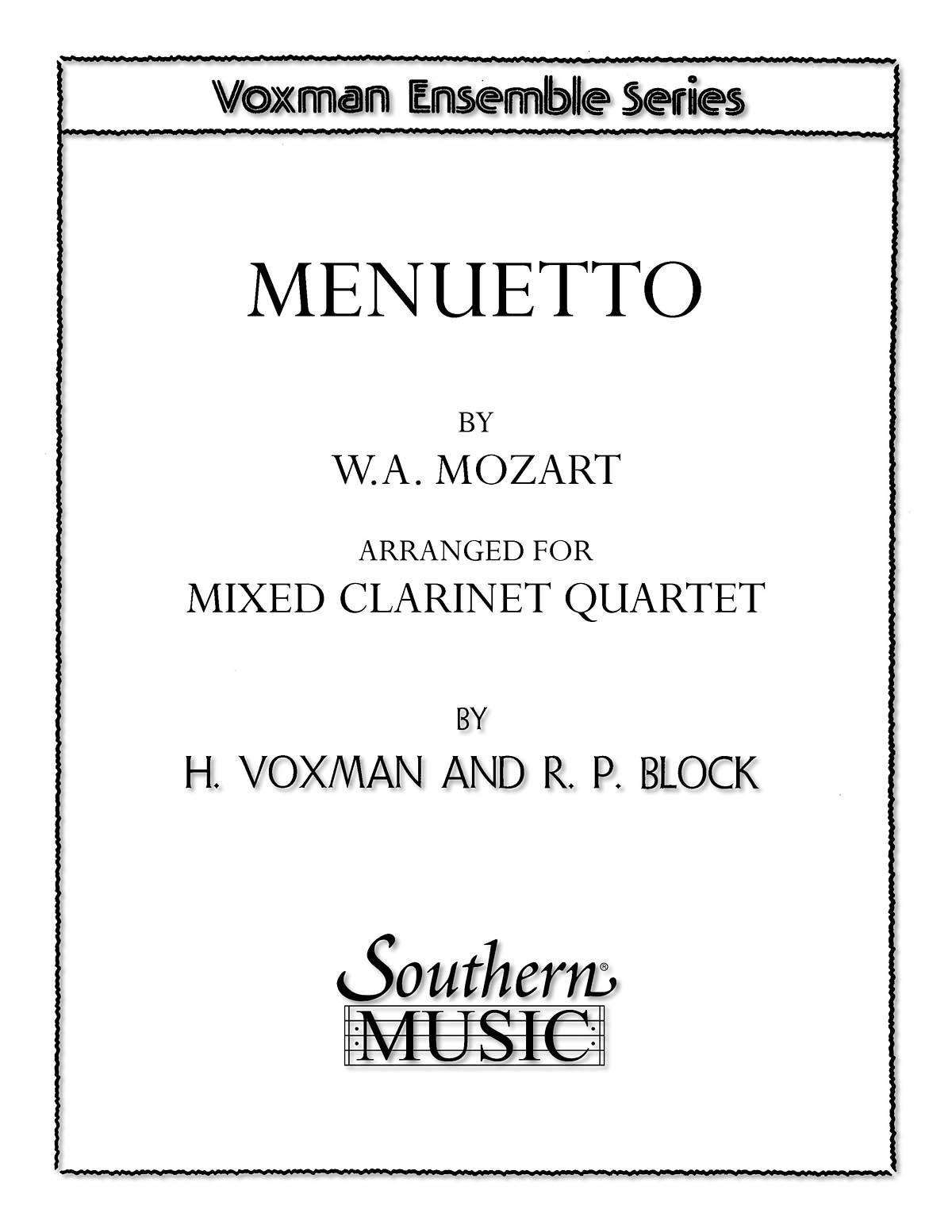 Wolfgang Amadeus Mozart: Menuetto: Clarinet Ensemble: Score