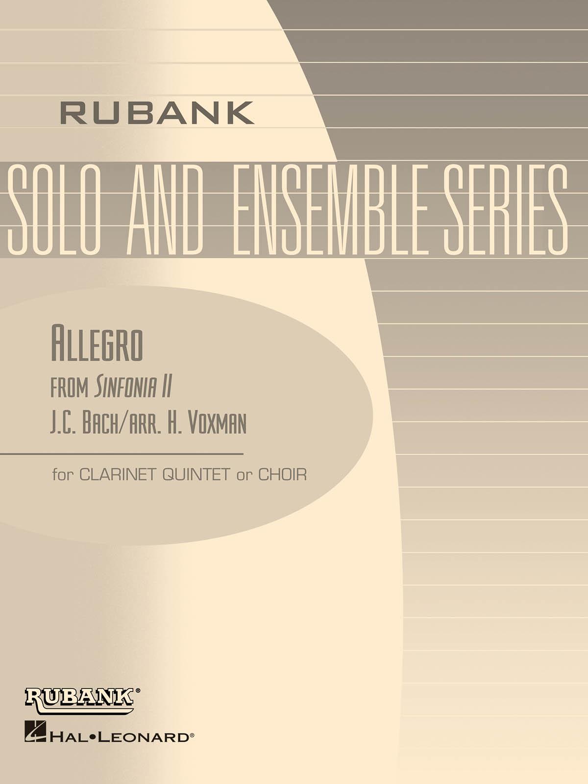 Johann Sebastian Bach: Allegro from Sinfonia II: Clarinets Ensemble: Score &