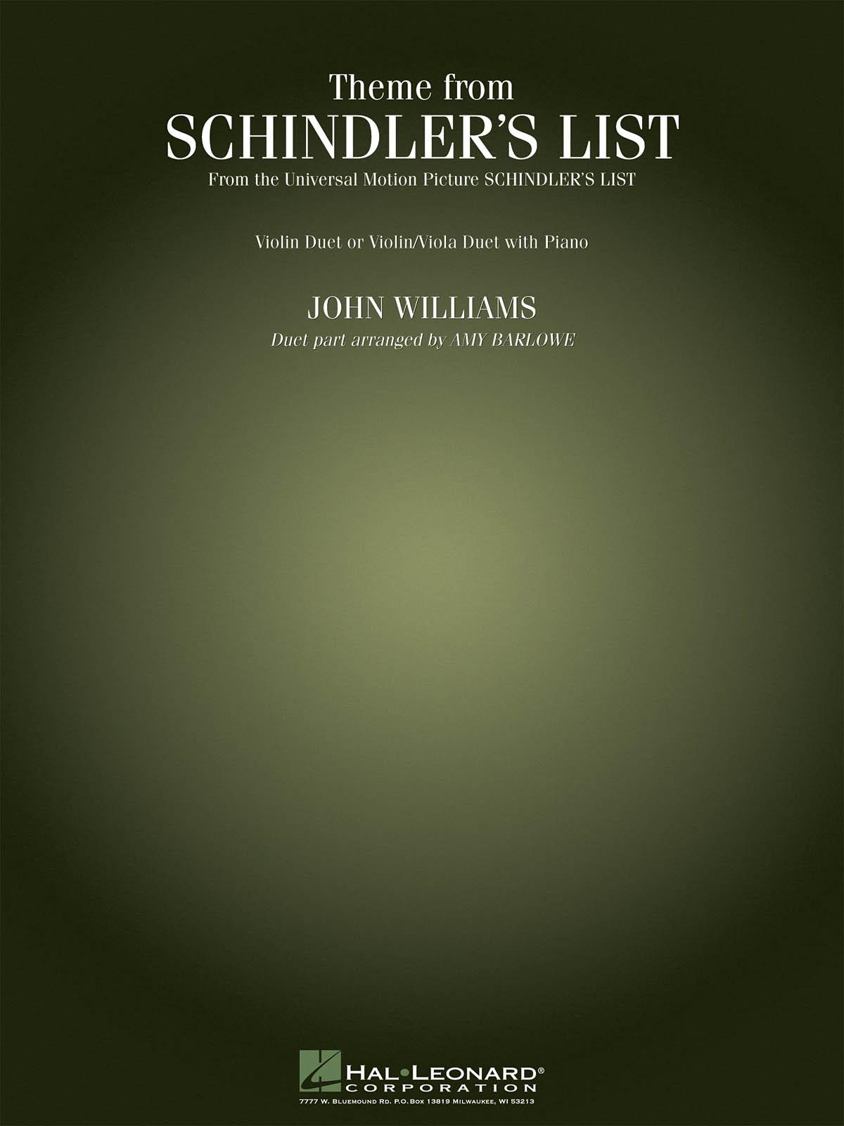 John Williams: Theme from Schindler's List: Mixed String Duet: Instrumental Work