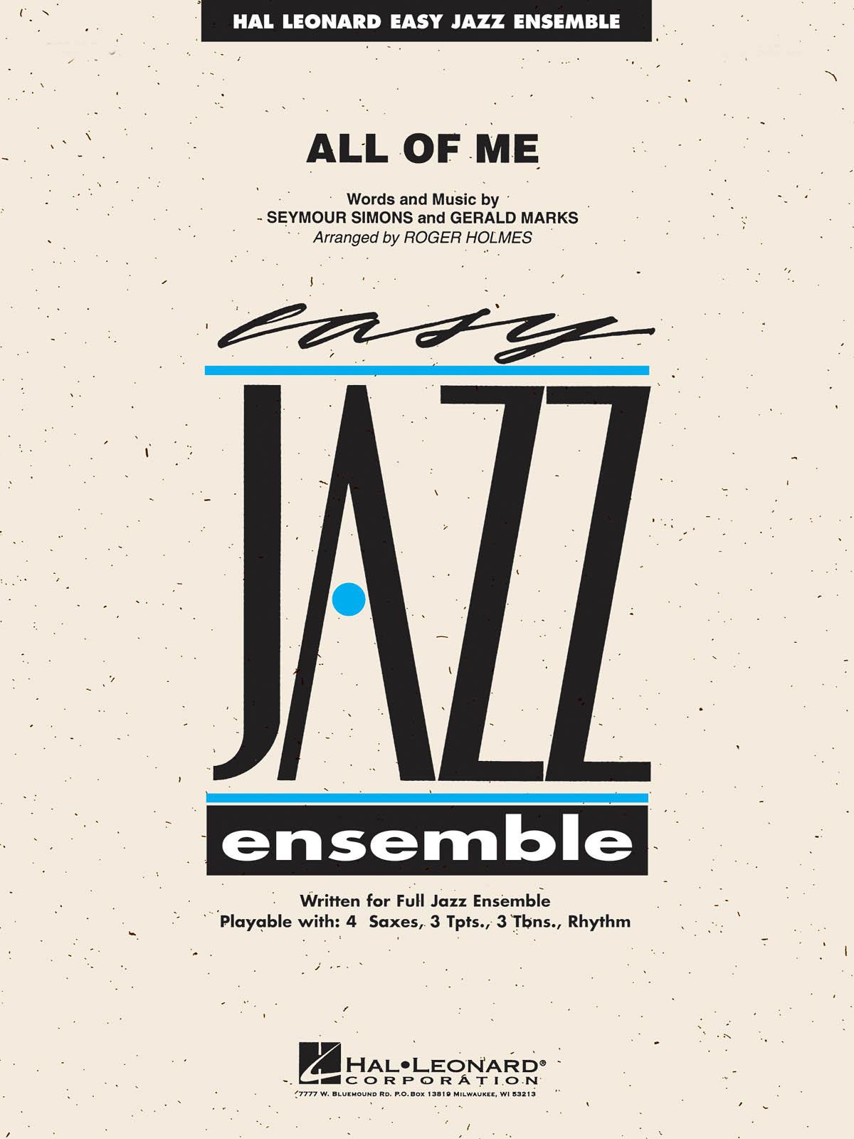 Gerald Marks Seymour Simons: All of Me: Jazz Ensemble: Score  Parts & Audio