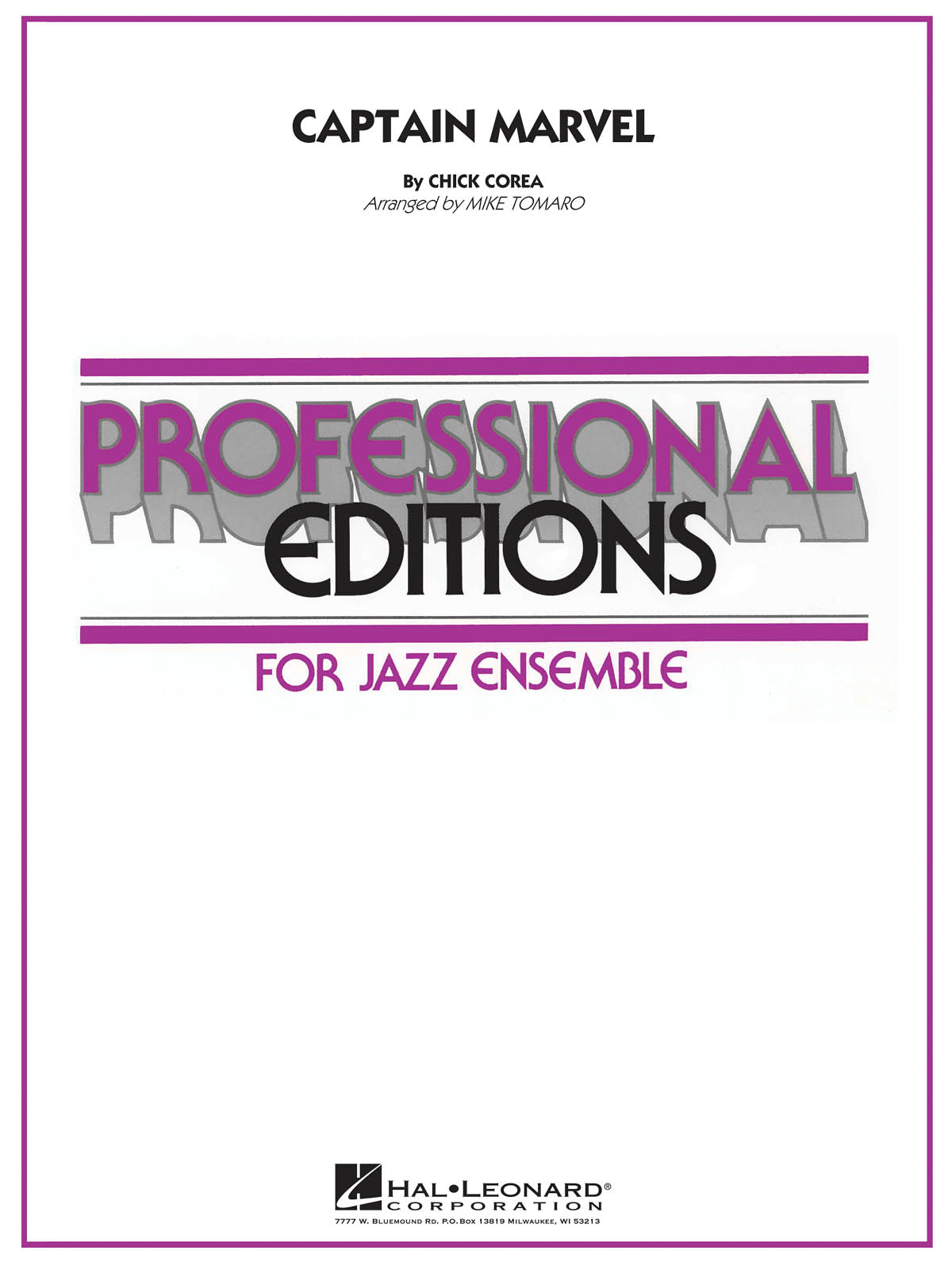 Chick Corea: Captain Marvel: Jazz Ensemble: Score & Parts