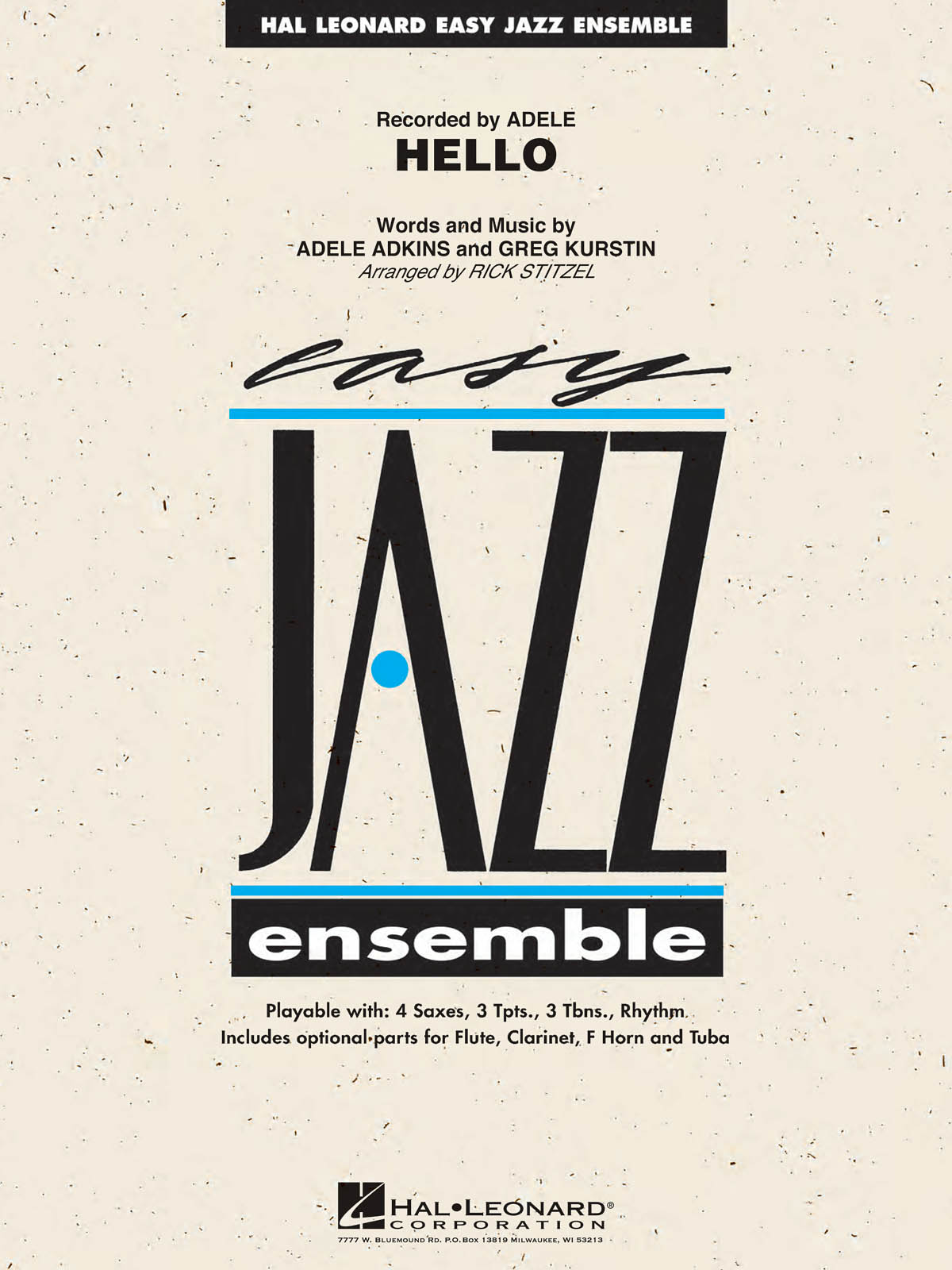 Adele Adkins Greg Kurstin: Hello: Jazz Ensemble: Score and Parts