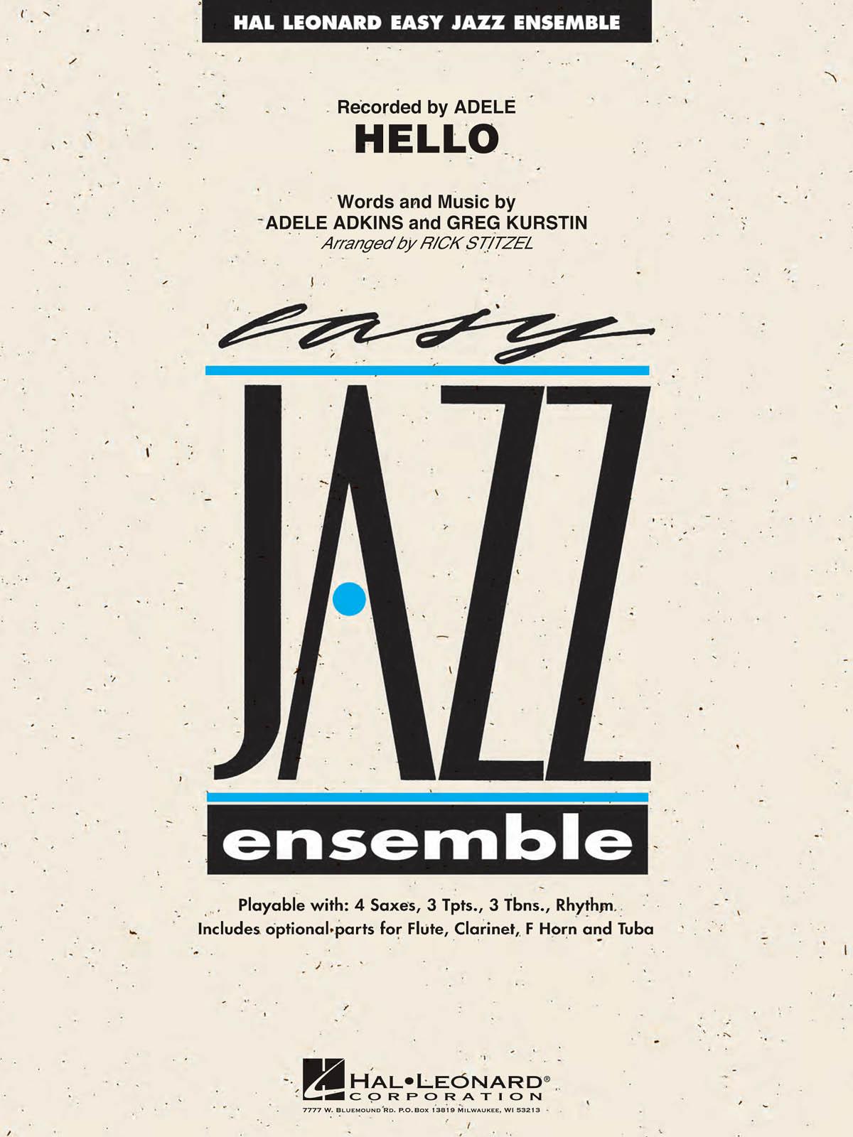 Adele Adkins Greg Kurstin: Hello: Jazz Ensemble: Score