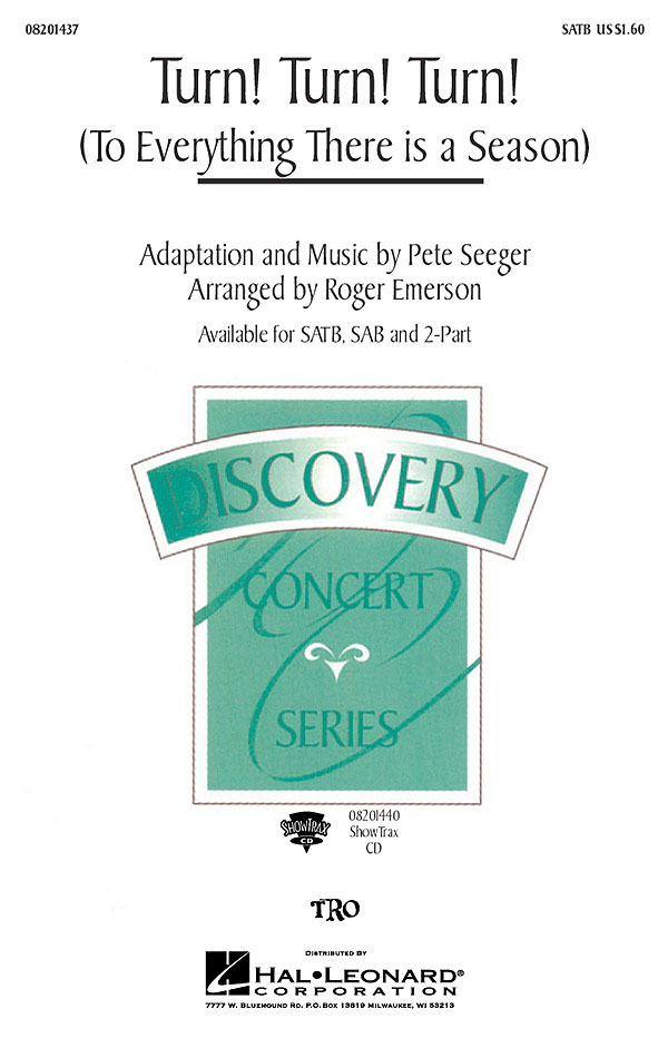 Pete Seeger: Turn! Turn! Turn!: Mixed Choir and Piano/Organ: Vocal Score