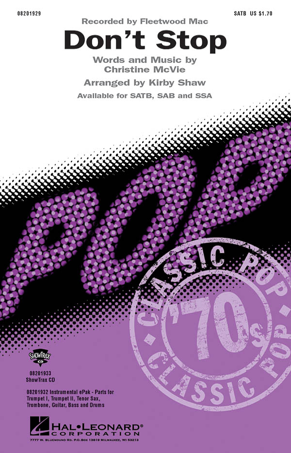 Christine McVie: Don't stop: SATB: Vocal Score