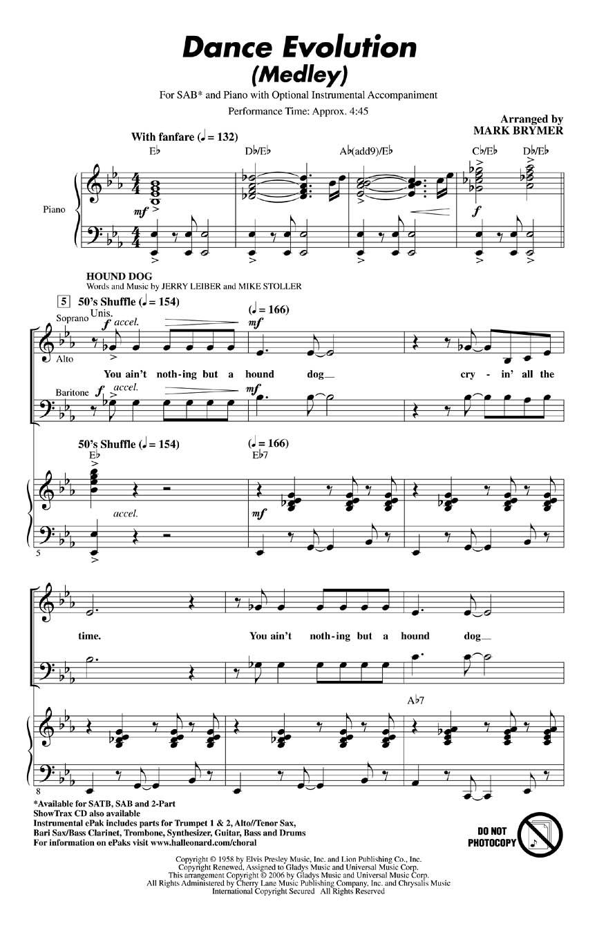 Dance Evolution (Medley): Mixed Choir a Cappella: Vocal Score