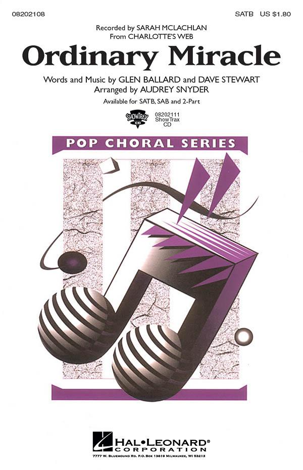 Sarah McLachlan: Ordinary Miracle: Mixed Choir a Cappella: Vocal Score