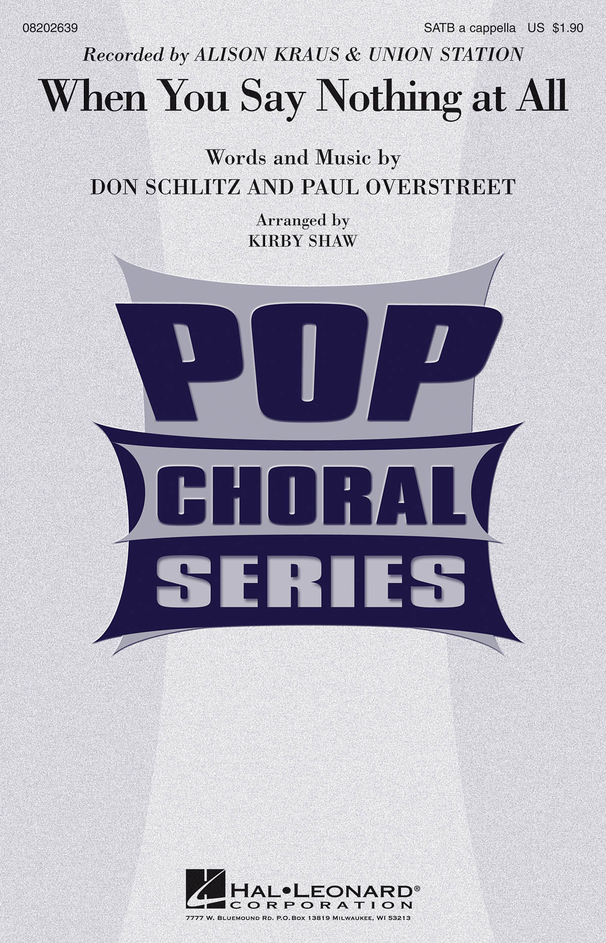 Alison Krauss: When You Say Nothing at All: Mixed Choir a Cappella: Vocal Score