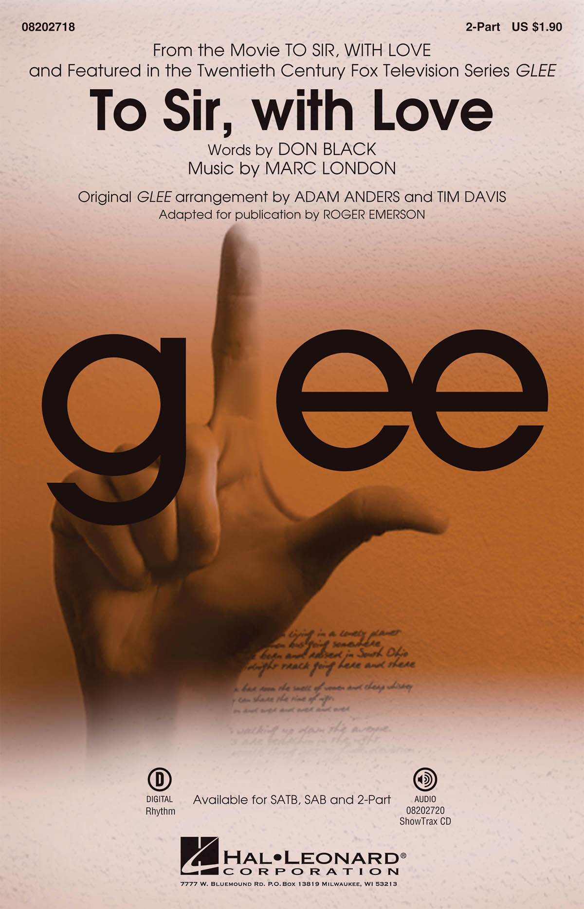 Glee Cast Marc London: To Sir  with Love: 2-Part Choir: Vocal Score