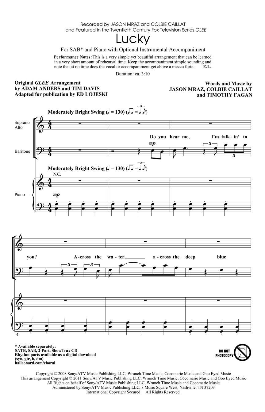 Colbie Caillat: Lucky: Mixed Choir a Cappella: Vocal Score