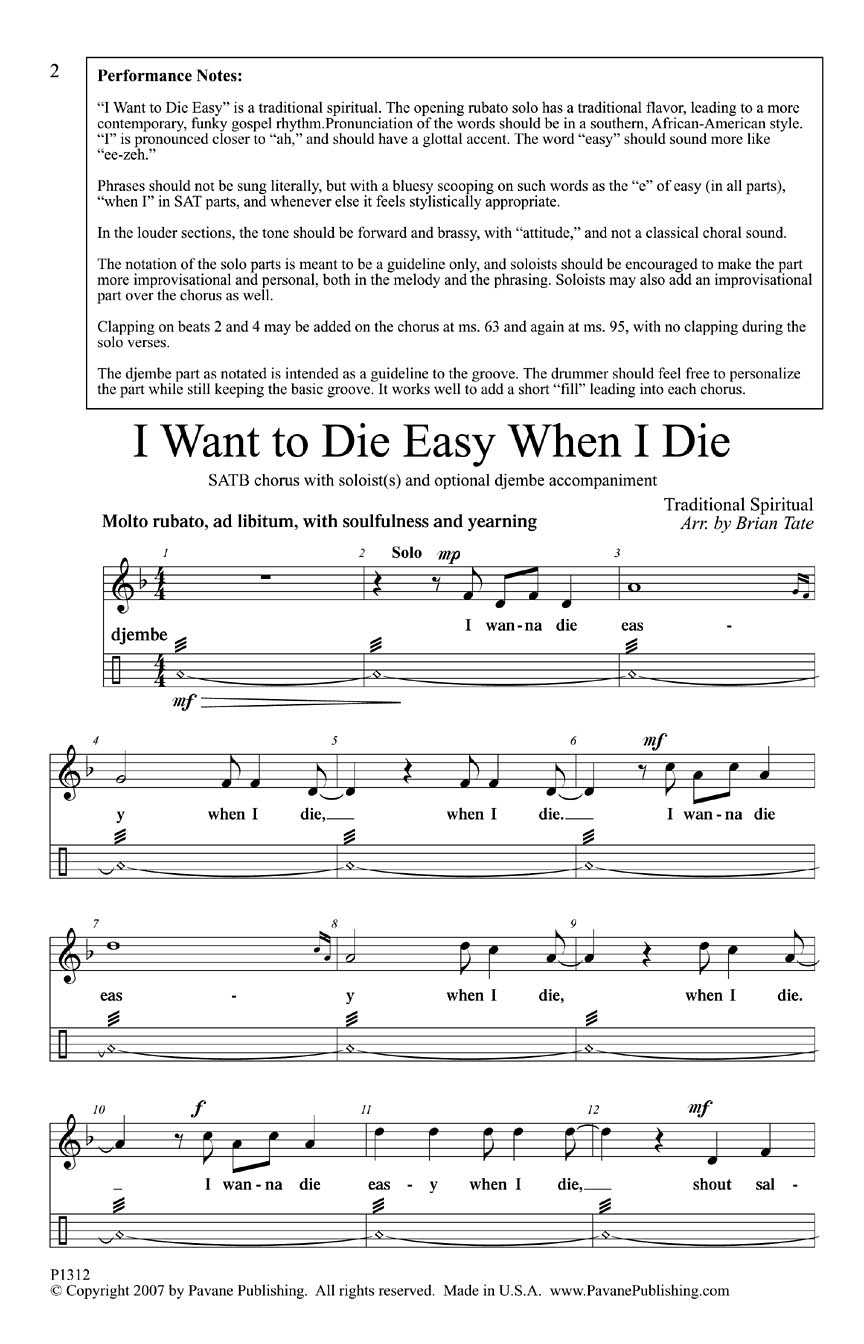 Traditional: I Want to Die Easy When I Die: Mixed Choir a Cappella: Vocal Score