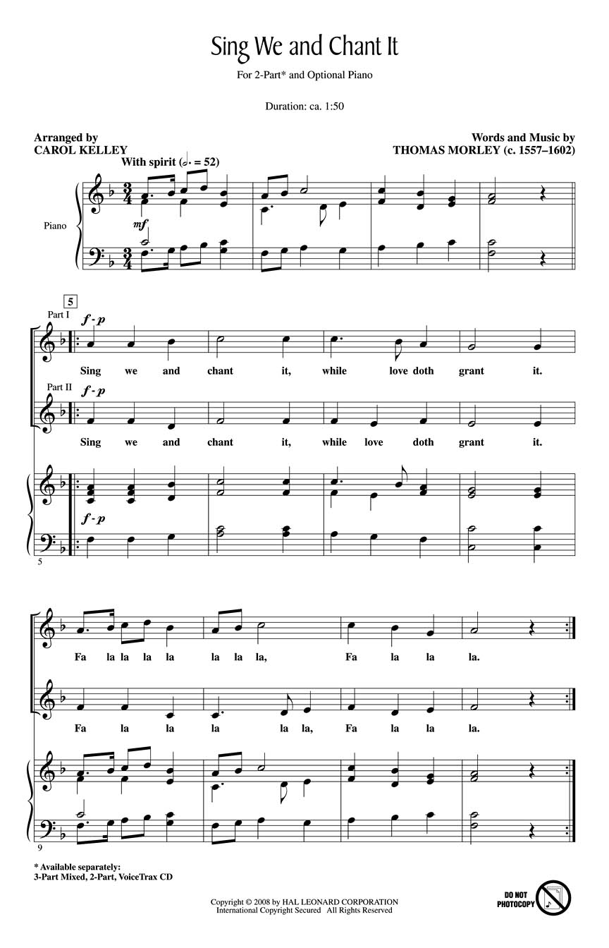 Thomas Morley: Sing We and Chant It: 2-Part Choir: Vocal Score