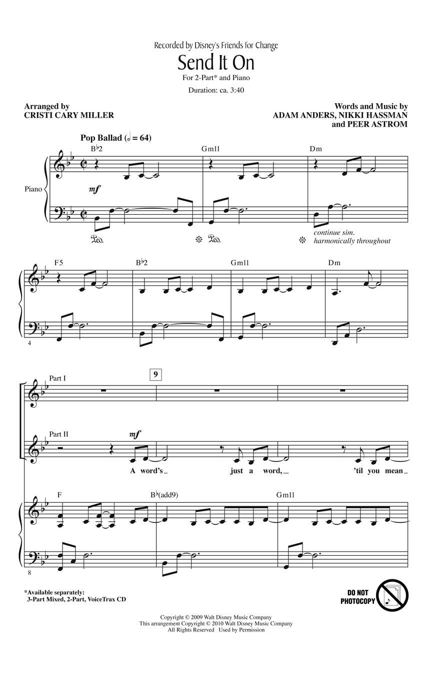 Disney's Friends for Change: Send It On: 2-Part Choir: Vocal Score