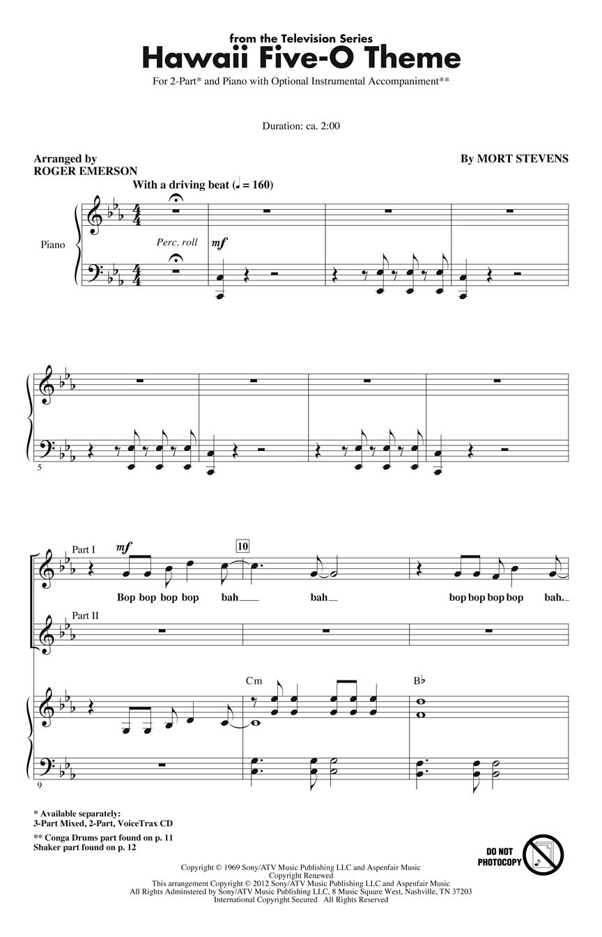 Hawaii Five-O Theme: 2-Part Choir: Vocal Score