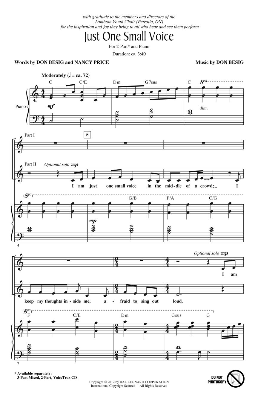 Don Besig Nancy Price: Just One Small Voice: 2-Part Choir: Vocal Score
