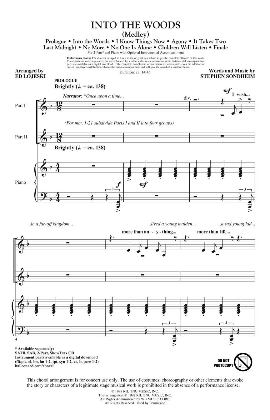 Stephen Sondheim: Into The Woods: 2-Part Choir: Vocal Score