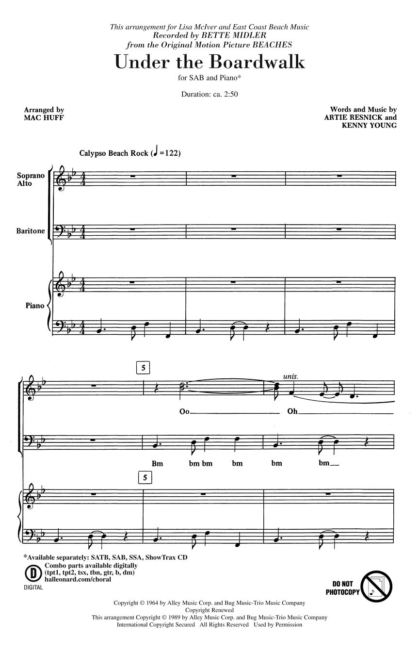 Artie Resnick Kenny Young: Under the Boardwalk: SAB: Vocal Score