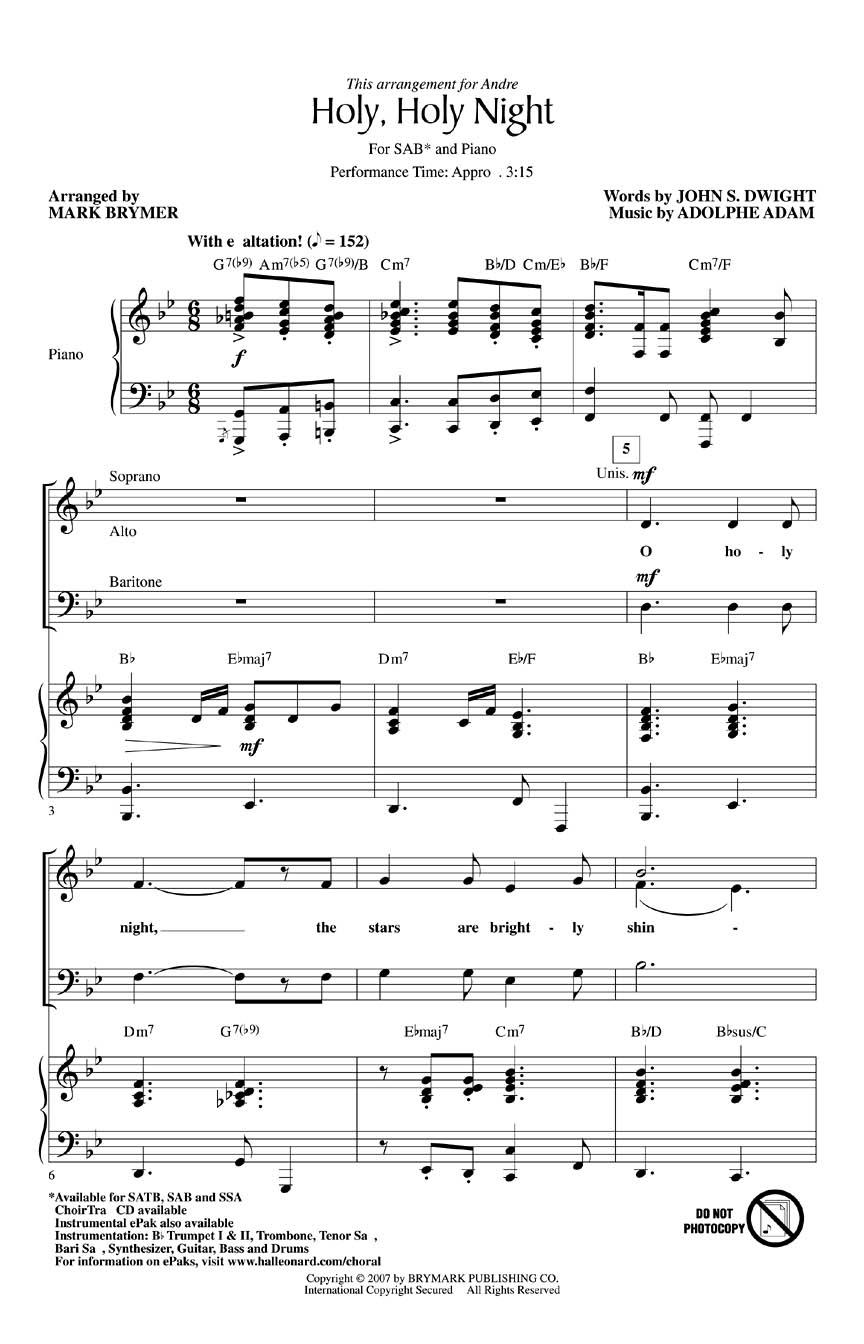 Adolphe Charles Adam John S. Dwight: Holy  Holy Night: SAB: Vocal Score