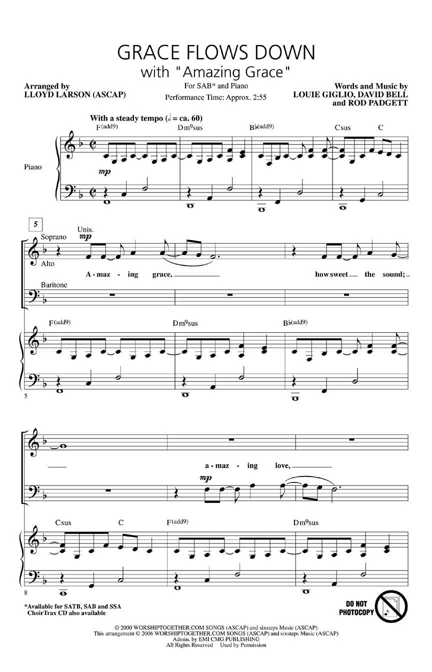 Grace Flows Down with Amazing Grace: SAB: Vocal Score