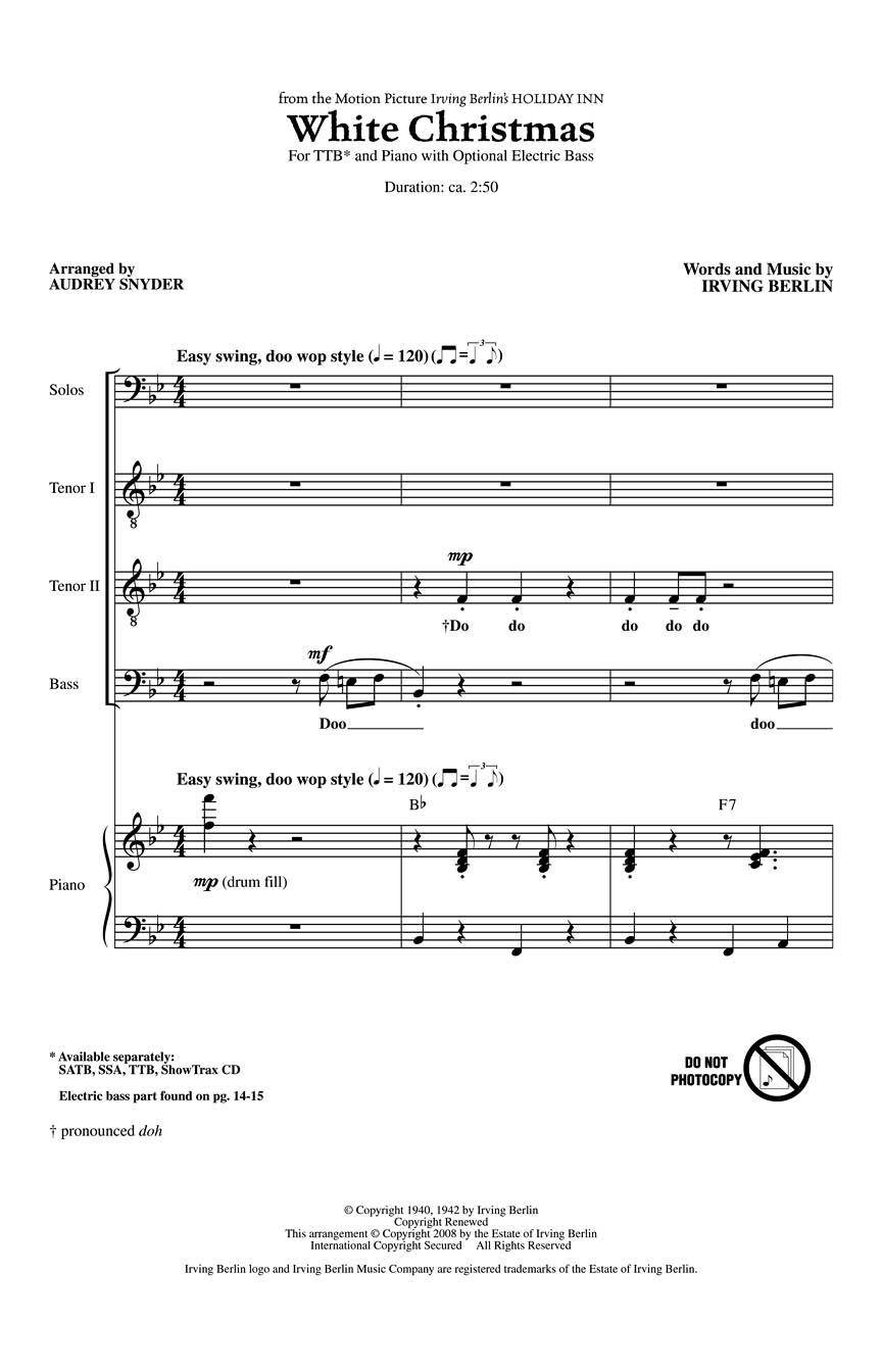 Irving Berlin: White Christmas: TTB: Vocal Score