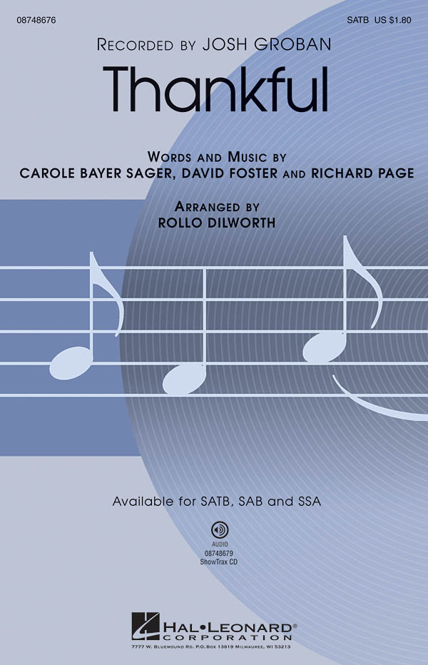 Thankful: SATB: Vocal Score