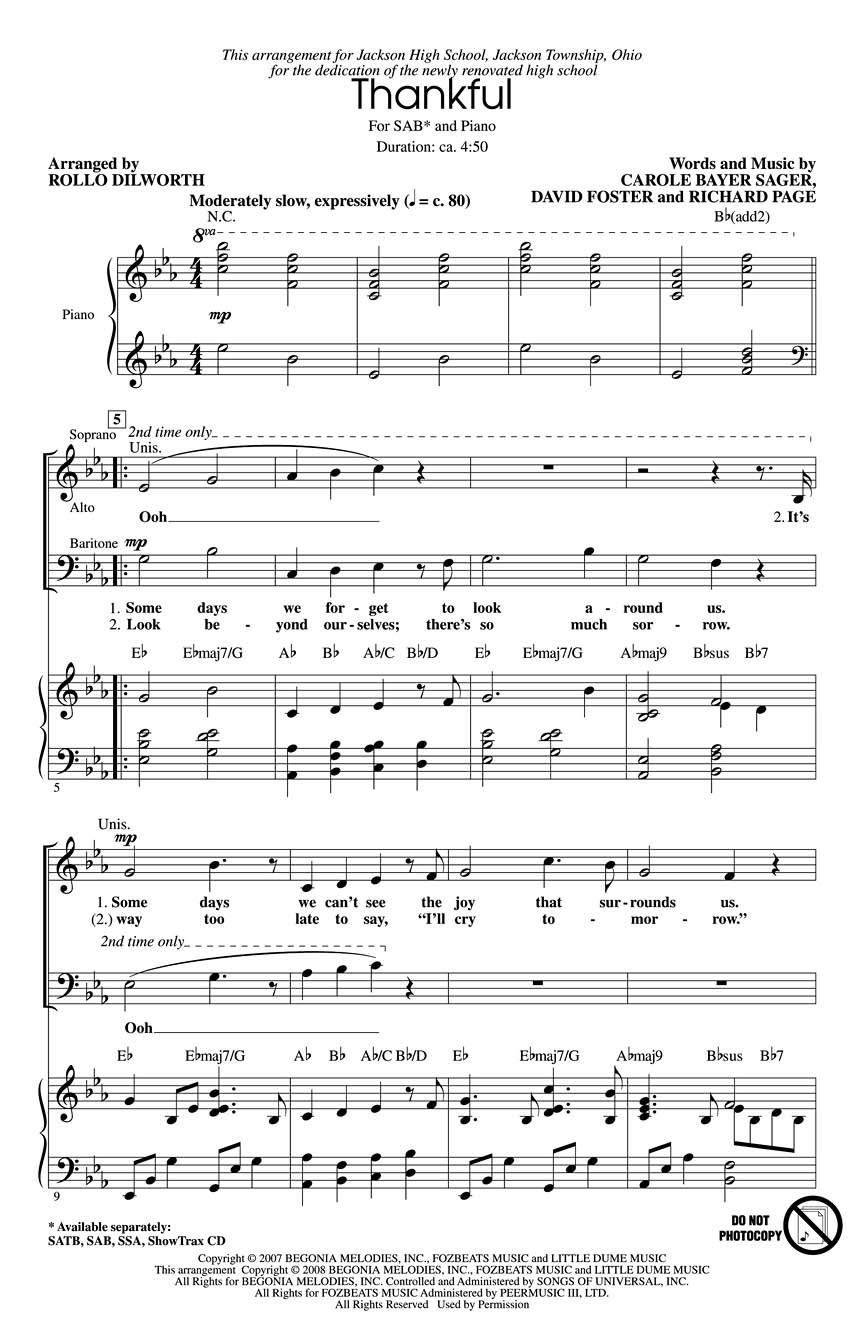 Thankful: SAB: Vocal Score