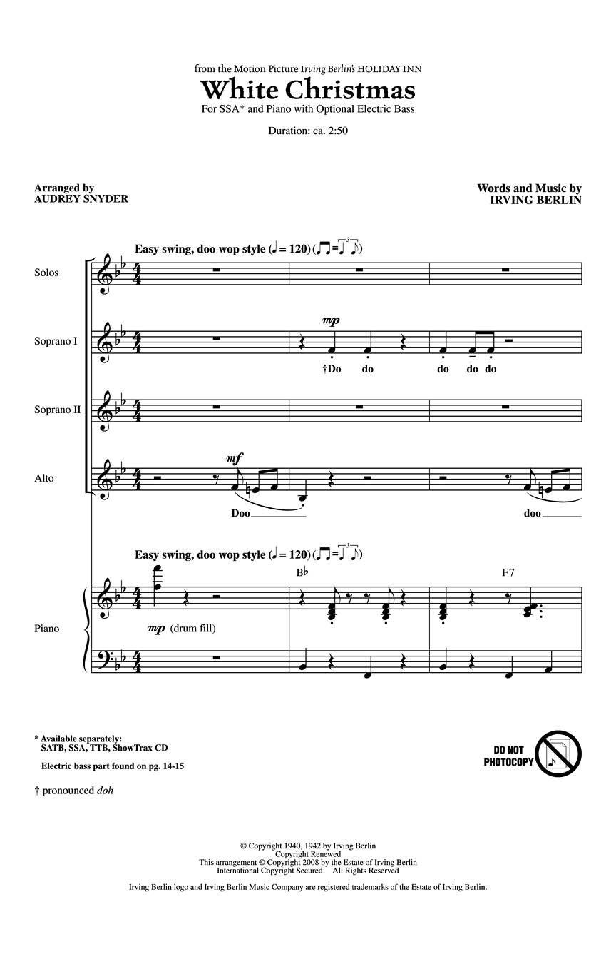 Irving Berlin: White Christmas: SSA: Vocal Score