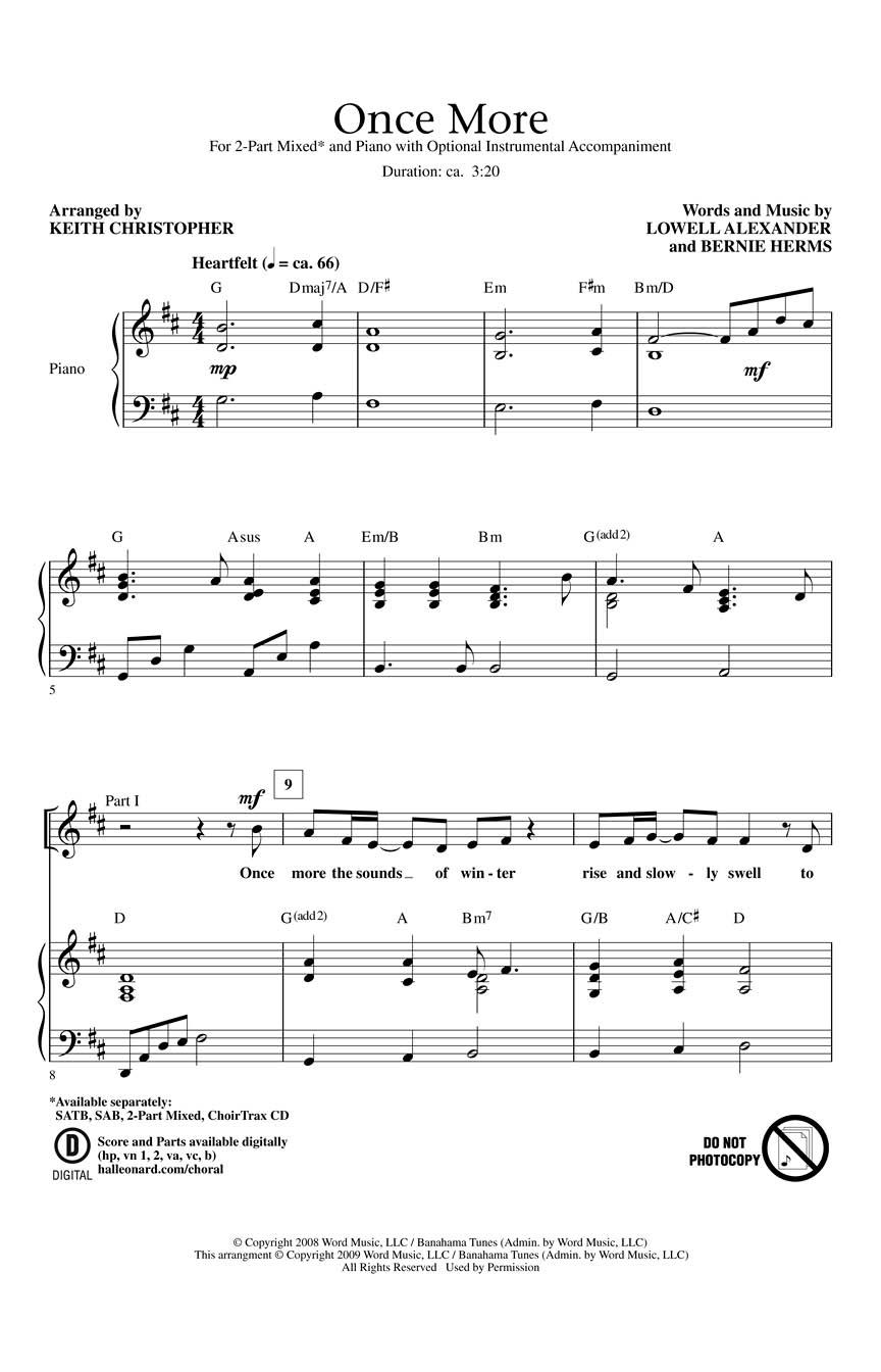 Lowell Alexander: Once More: 2-Part Choir: Vocal Score